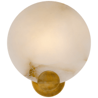 Iveala Single Sconce in Hand-Rubbed Antique Brass with Alabaster Shade