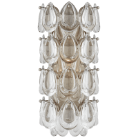 """Liscia 12"""" Sconce in Burnished Silver Leaf with Crystal"""