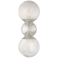 Cristol Small Double Sconce in Polished Nickel with White Glass
