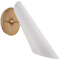 Franca Pivoting Shade Sconce in Hand-Rubbed Antique Brass with White Shade