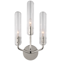 """Casoria 17"""" Triple Sconce in Polished Nickel with Clear Glass"""