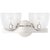 Carola Double Sconce in Polished Nickel with Clear Glass