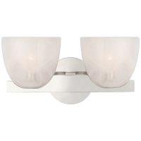 Carola Double Sconce in Polished Nickel with White Strie Glass