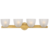 Carola 4-Light Bath Sconce in Hand-Rubbed Antique Brass with Frosted Glass