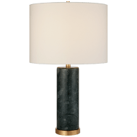 Cliff Table Lamp in Green Marble with Linen Shade