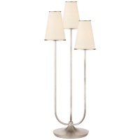 Montreuil Triple Table Lamp in Burnished Silver Leaf with Linen Shades