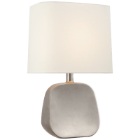 Almette Medium Table Lamp in Burnished Silver Leaf with Linen Shade