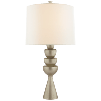 Veranna Large Table Lamp in Burnished Silver Leaf with Linen Shade