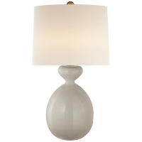 Gannet Table Lamp in Bone Craquelure with Linen Shade