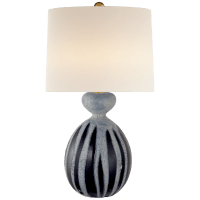 Gannet Table Lamp in Drizzled Cobalt with Linen Shade