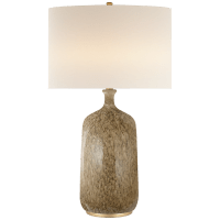Culloden Table Lamp in Marbleized Sienna with Linen Shade