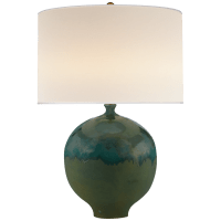 Gaios Table Lamp in Volcanic Verdi with Linen Shade
