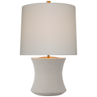 Marella Accent Lamp in Porous White with Linen Shade