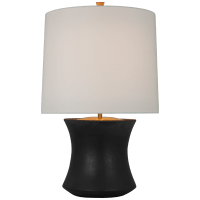 Marella Accent Lamp in Stained Black Metallic with Linen Shade