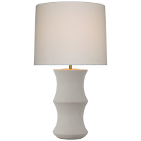 Marella Medium Table Lamp in Porous White with Linen Shade