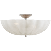 Rosehill Large Semi-Flush Mount in Polished Nickel with White Strie Glass
