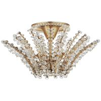 Serafina Small Semi-Flush Chandelier in Hand-Rubbed Antique Brass with Crystal