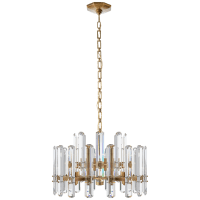 Bonnington Chandelier in Hand-Rubbed Antique Brass with Crystal