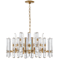 Bonnington Large Chandelier in Hand-Rubbed Antique Brass with Crystal
