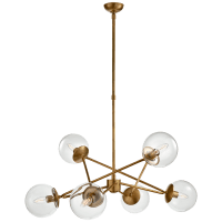 Turenne Large Dynamic Chandelier in Hand-Rubbed Antique Brass with Clear Glass