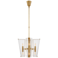 Alpine Small Chandelier in Hand-Rubbed Antique Brass with Clear Glass