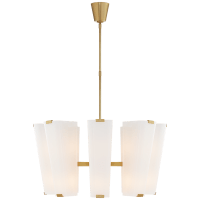Alpine Medium Chandelier in Hand-Rubbed Antique Brass with White Glass