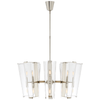 Alpine Medium Chandelier in Polished Nickel with Clear Glass