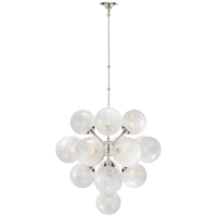 Cristol Large Tiered Chandelier in Polished Nickel with White Strie Glass