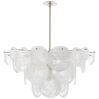 Loire Large Chandelier in Polished Nickel with White Strie Glass