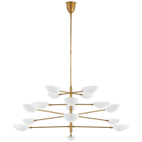 Graphic Grande Four-Tier Chandelier in Hand-Rubbed Antique Brass with White Shades