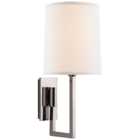 Aspect Library Sconce in Soft Silver with Ivory Linen Shade
