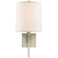 Aspect Small Articulating Sconce in Pewter with Ivory Linen Shade