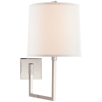 Aspect Large Articulating Sconce in Polished Nickel with Ivory Linen Shade
