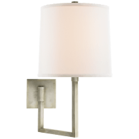 Aspect Large Articulating Sconce in Pewter with Ivory Linen Shade