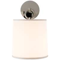 French Cuff Sconce in Polished Nickel with Silk Shade
