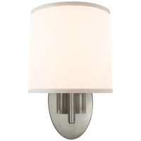 Graceful Ribbon Single Sconce in Pewter with Silk Shade