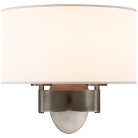 Graceful Ribbon Double Sconce in Pewter with Silk Shade