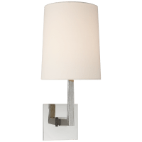 Ojai Medium Single Sconce in Polished Nickel with Linen Shade
