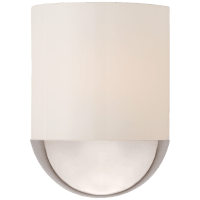 Crescent Small Sconce in Polished Nickel with White Glass