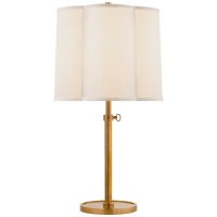 Simple Adjustable Scallop Table Lamp in Soft Brass with Silk Shade