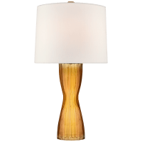 Seine Medium Table Lamp in Amber with Linen Shade
