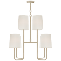 Go Lightly Medium Chandelier in China White with Silk Shades