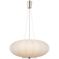Paper Moon Large Hanging Shade in Polished Nickel with Rice Paper Shade