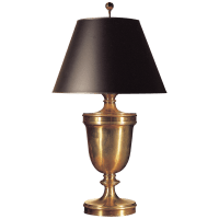 Classical Urn Form Large Table Lamp in Antique-Burnished Brass with Black Shade