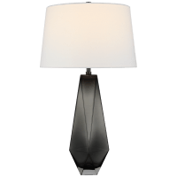 Gemma Medium Table Lamp in Smoked Glass with Linen Shade