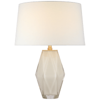 Palacios Medium Table Lamp in White Glass with Linen Shade
