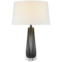 Teagan Medium Table Lamp in Smoked Glass with Linen Shade