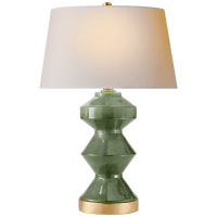 Weller Zig-Zag Table Lamp in Shellish Kiwi with Natural Paper Shade