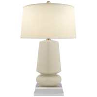 Parisienne Small Table Lamp in Iced Coconut with Natural Percale Shade