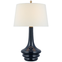 Wallis Large Table Lamp in Mixed Blue Brown with Linen Shade